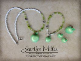 Green Apple Jewelry Set by ArteDiAmore
