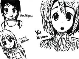 Quick Sharpie Sketches of K-On! Girls by OhayouBaka