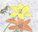 Bee and Tigerlilys by LindArtz