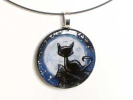 Black Cat Full Moon Pendant by sobeyondthis