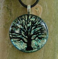 Silver Green Tree Fused Glass by FusedElegance