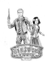 Booker and Elizabeth + the Bioshock infinite logo by Fenris88