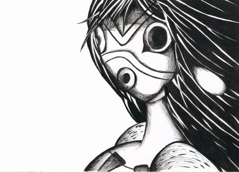 Princess Mononoke Mask in ink by 365daysofdrawings