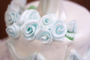 Pearl-Dusted Wedding Cake by CellasCakes