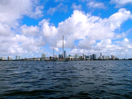 Miami skyline with Sailboat by dogfolife69