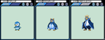 Piplup, Prinplup and Empoleon by JoshR691