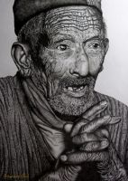 Prayer of an old man by Arunava-Art