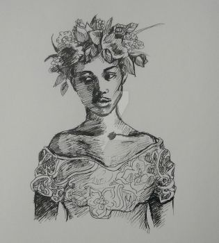 Young Woman with Flower Crown by Synefarah