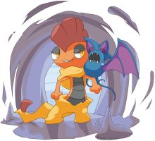 Zubat and Scrafty Commission by Shikuroshi