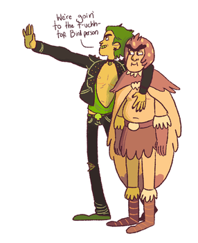 Rick and Birdperson by Rosslaye