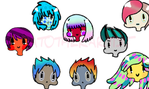 Random Colorful People (sorta adopts) by djKawaii