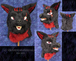 Black and Red Wolf Mask by VenturertheHybrid