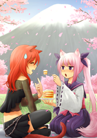 Rin and Akari Picnic by NickBeja