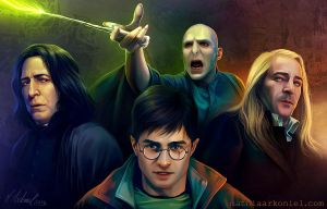 hp: Harry, Snape, Lucius, Voldemort by MathiaArkoniel