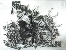 papercutting:tiger and dog by masamisato