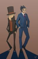 Phoenix and Layton by fireproofmarshmallow