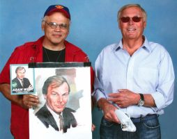 WITH ADAM WEST, POSING WITH HIS PORTRAIT IN OIL. by AbdonJRomero