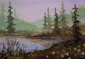 ACEO Misty Lake by annieoakley64