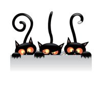 Free vector Witch Halloween cat holding Card ban by cgvector