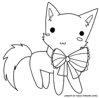 Chibi Kitty FREE Lineart [MS Paint friendly!] by AskYowaneHaku-chan