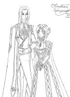 Justinian and Esther Lineart by ObsidianEmpress