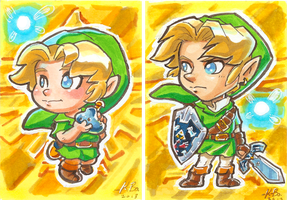 Legend of Zelda Ocarina of Time Link Art Cards by kevinbolk