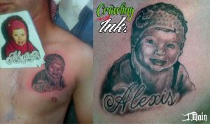 My buddy Worm's Tattoo of his daughter Alexis by JustinMain