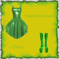 Green Boots And Dress Stock by AngelMoon17