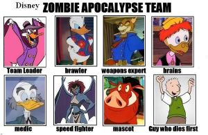 Disney 90s zombie apocalypse team by Sekele