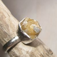 Raw Stellerite druzy ring by Jealousydesign