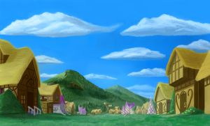Ponyville Background by Tsitra360