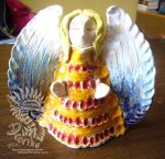 Ceramic clay angel sculpture by Drerika