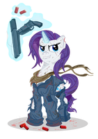 Rarity and her gun of frendship by Toonlancer
