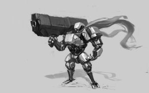 Value mecha with big gun by ksenolog