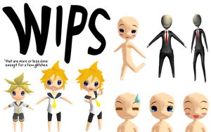MMD Chibi Base WIP V2 + other WIPs by Trippy-Rabbit