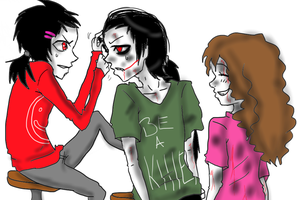 Sally, Jeff The Killer, And Mikael-We can be twins by MikaelBratLoni