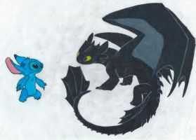 Stitch and Toothless by ShadowWolf1456
