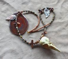 Resin Crow Skull Necklace by lupagreenwolf