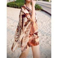 Nz Bandeau Cover-Up,Animal Chiffon Brown by girlsdresses