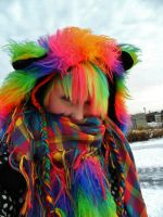 Fuzzy  rainbow bear scarf hood by ScruffyFluffy