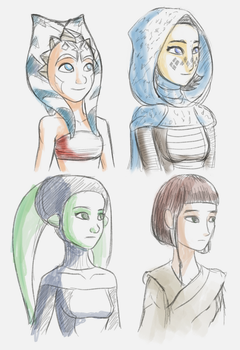 Young Jedi sketches by Raikoh-illust