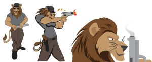 Lion with big gun  colored by Samoht-Lion