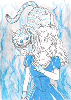 Alice and the Cheshire Cat by adamis