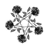 Rose pentagram - greyscale by rockgem