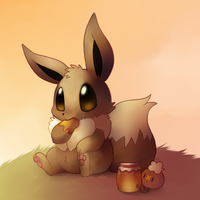 Eevee with Honey by HappyCrumble