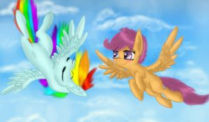 Rainbow Dash and Scootaloo by Shadowh00f