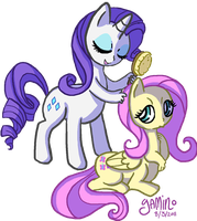 Rarity and Fluttershy by Yamino