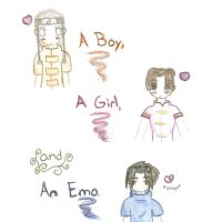 A boy, a girl and an Emo by sallychan