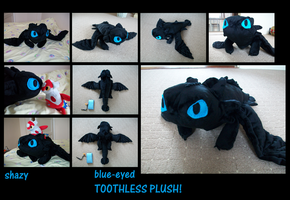 Blue-Eyed TOOTHLESS PLUSH by shazy