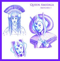 Queen Amidala Sketches 1 by PadawanLinea